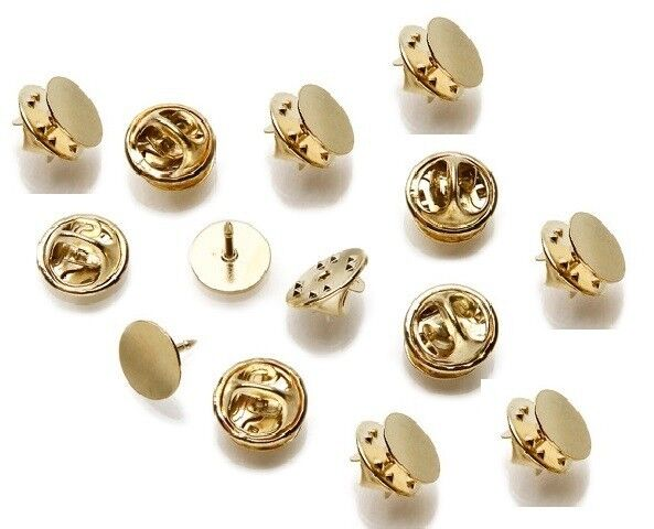 10 Tie Tac Pin Findings With 12mm Round Circle Flat Pad Plated Over Brass Metal