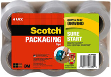 Scotch Sure Start Shipping Packaging Tape 188x25 Yd 15 Core Clear 6 Roll