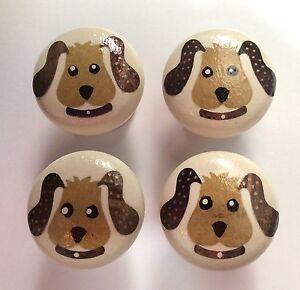 4 x Cute Handpainted /& Decoupaged Puppy Dog 4cm Pine Drawer Knobs
