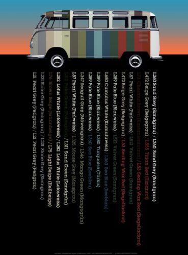"""VW BUS COLOR CODES POSTER ART PRINT 18"""" x 24/"""" Giclee Volkswagen Van Samba"""