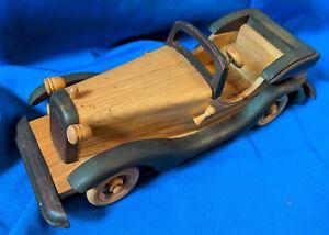 Custom-Handmade-Wooden-Model-Antique-Car-VTG-Carved-12-034-HO-Toy-Rare-Convertible