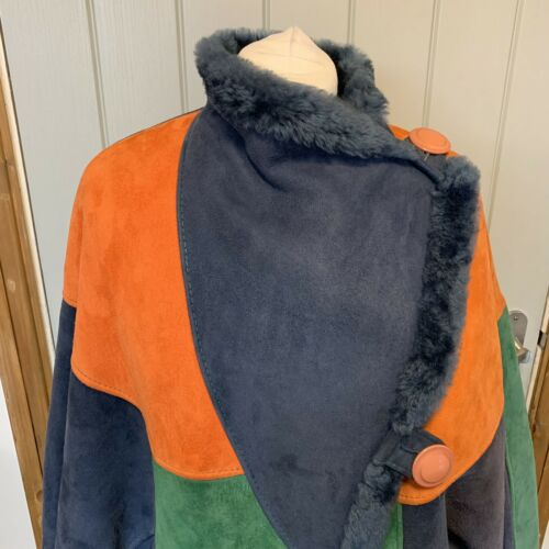 Vintage Multicoloured Medium By Batwing Coat Loringhoven Miss Fur Suede L Retro qnSaw88xIH