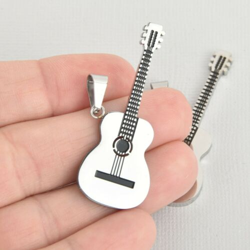 Silver Stainless Steel chs5543 1 ACOUSTIC GUITAR Charm