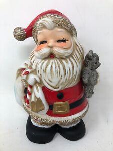 Vintage Homco Santa Claus Piggy Bank Christmas Decoration Figurine #5610 Decor