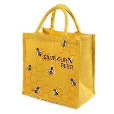 BEE YELLOW JUTE SHOPPING BAG SAVE OUR BEES fair trade eco shopper NEW!