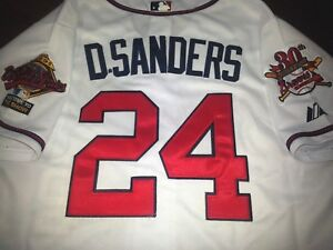 timeless design dc26e b59bf Details about white Brand New Atlanta Braves #24 Deion Sanders Cooperstown  WS all sewn Jersey
