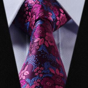 New Mens Wedding Tie Fuschia Pink Blue Purple Floral Grooms Silk ...