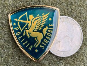 POLIZIA-STRADALE-ITALIAN-CENTAUR-DISTINCTIVE-INSIGNIA-PIN-Vintage-ITALY