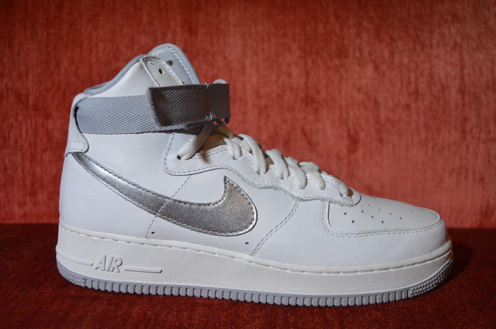 Nike Air Force 1 Hi Retro QS Summit White Wolf Grey 743546-101 Mens Size 9.5