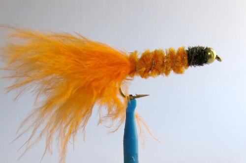 10 x Mouche peche Streamer Dognobbler Orange BILLE H8//10//12 fly fishing trout