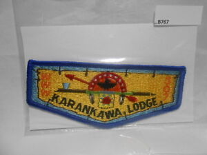 O.A. LODGE 307 KARANKAWA HORIZONTAL YELLOW BKGND BROTHERHOOD VIGIL (TEXAS) B767