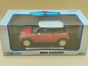 1/18 Mini Cooper Rouge & Blanc 2003 Welly ref: 23010000 Jamais Ouvert Never Open