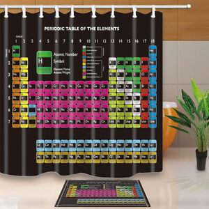 Image Is Loading Chemistry Bathroom Shower Curtain Set Periodic Table Of