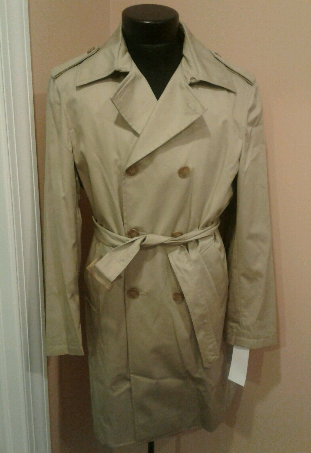 BNWT PERRY ELLIS Tan Rain Coat Trench Classic 38R new