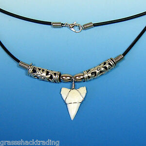 A Great White Tip Shark Tooth Necklace Hawaiian Surfers Large Sharks Teeth
