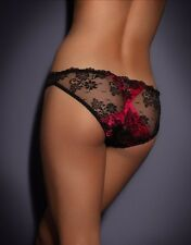 Agent Provocateur MADDY Lace Brief in Black/Fuchsia Sz:1 XS Ret$190 New w/Tags