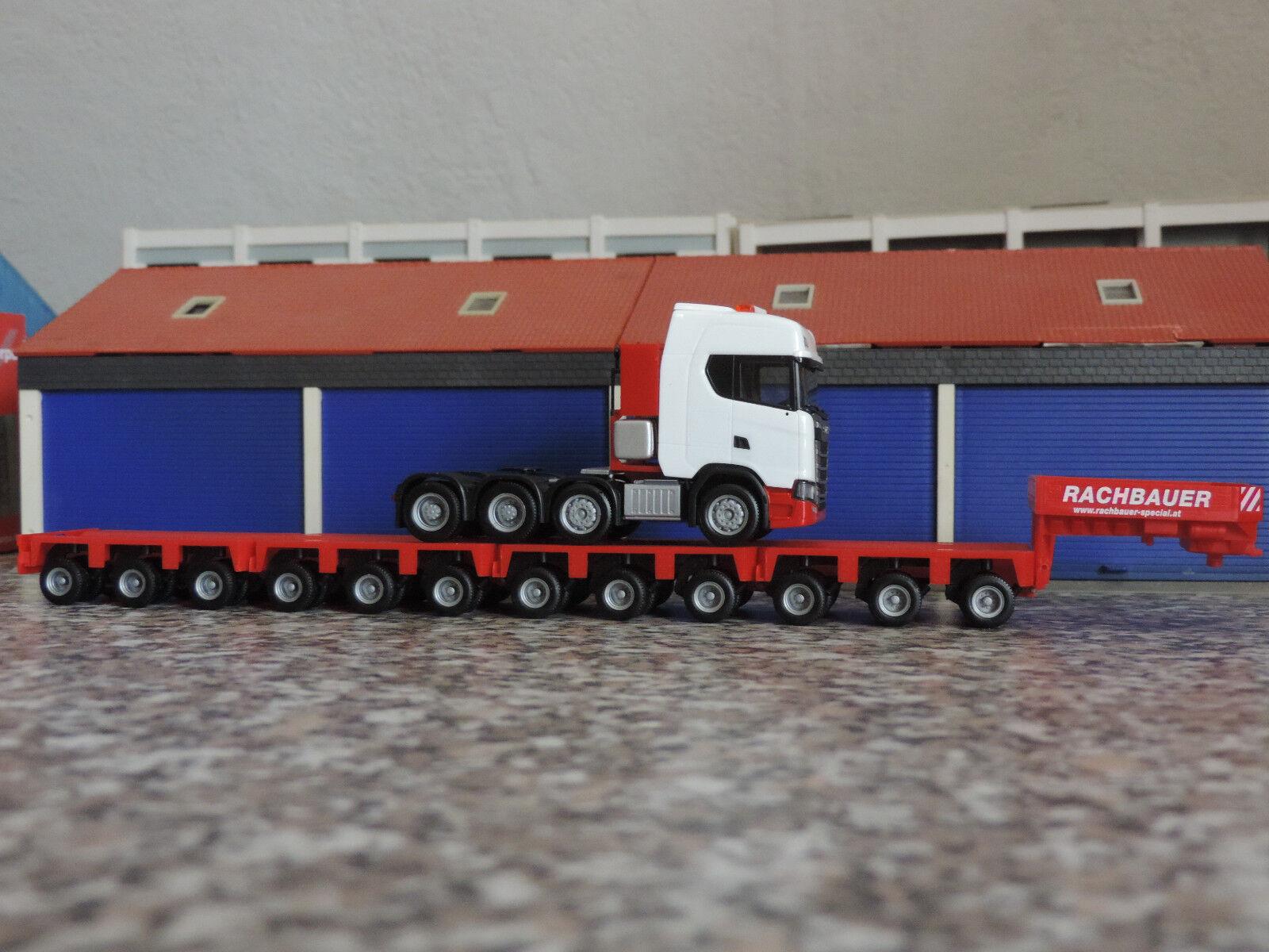 Herpa 1 87 - - - Scania CS 20 HD 16-achs Tiefladersattelzug -  weiß-Rachbauer   | Charmantes Design  732855
