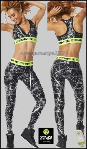 Flattering /& Slimming S M L Zumba Hyper Melt Silver Metallic Wow Long Leggings