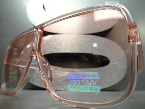 OVERSIZED VINTAGE RETRO SHIELD Style SUN GLASSES Large Square Pink Frame /& Lens