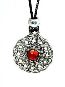 Celtic-Sun-Knot-Pewter-Red-Gem-Cubic-Zirconia-Pendant-Beaded-Cord-Lace-Necklace