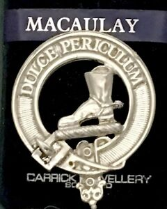 Details about MacAulay Scottish Clan Crest Badge Brooch Pin Style Pewter