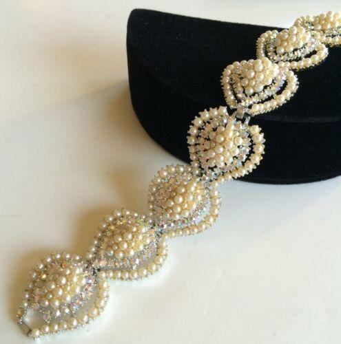 Vintage Kramer Bracelet~Pearls/Aurora Borealis Rhi