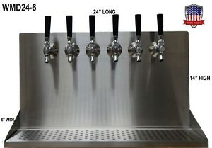 Details About Wall Mount Beer Dispenser 6 Faucets Steel Draft Tower Made In Usa Wmd24
