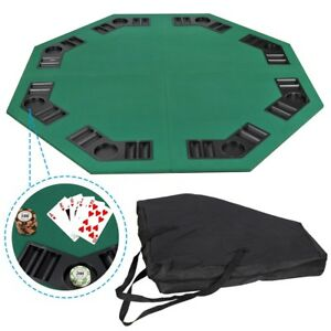 Details About 48 Folding Octagon Card Table Top W Cup Chip Holders Blackjack Party