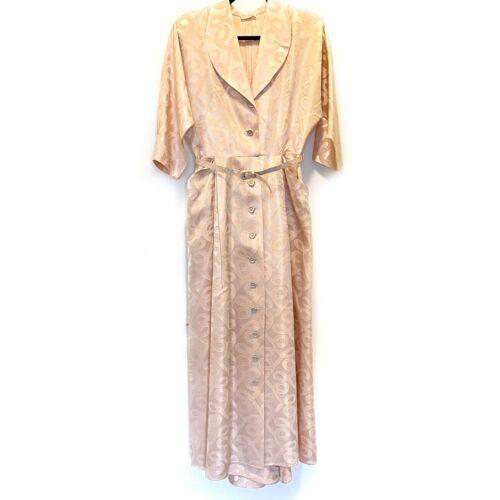 1940s House Dress Coat Robe Pink Jacquard Belt Poc