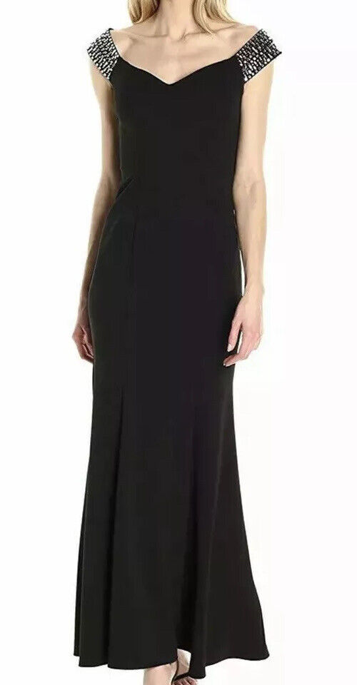 Women's Formal Dress Size 14 Black Tie Prom Gown Off the Shoulders ALEX EVENING