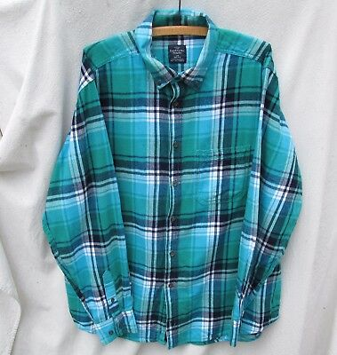 Faded Glory Turquoise Plaid Flannel Boyfriends Shirt Top  Mens L