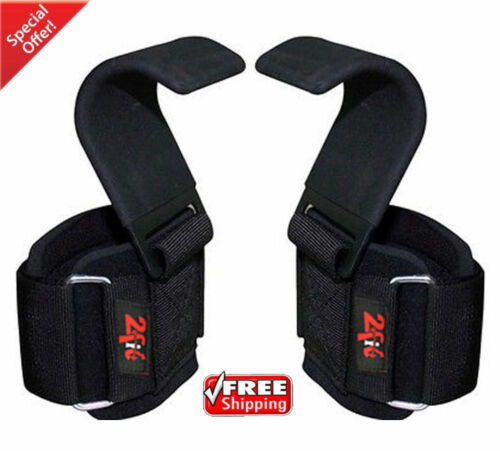 2Fit Weight Lifting Gym Training Hook Wrist Support Gripper Straps Gloves