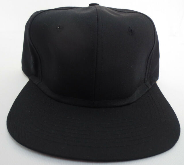 9cc7a36a979 Black Snapback Vintage Hat Retro Crew One Size Fits All Adjustable Plain Cap  Vtg for sale online