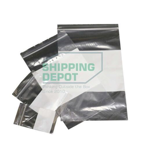 "200 Quantity 3x4 Zip Lock White Block 2mil Reclosable Poly Bags 3/"" x 4/"""