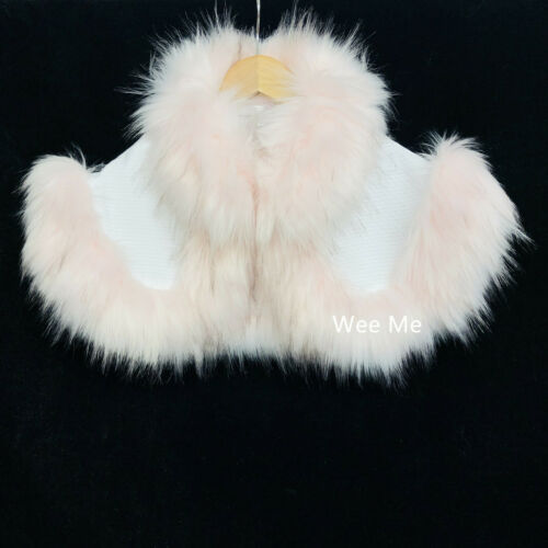 Stunning Wee Me Baby Girl Spanish Fur Dress and Fur Cape Set// White//Pink