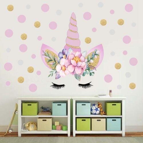 Einhorn Blumen Wandaufkleber Kinder Mädchen Warm Schlafzimmer Aufkleber Wohndeko