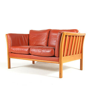 Retro-Vintage-Danish-Modern-Beech-amp-Red-Leather-Feather-2-Seat-Seater-Sofa-1970s