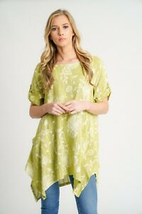 New-Ladies-Lagenlook-Lightweight-Oversized-Split-Sides-Floral-Cotton-amp-Linen-Top