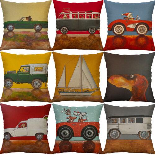 "18/"" Art Dog Car Cushion Case Cotton Linen Cushion Cover Sofa Waist Home Decor"