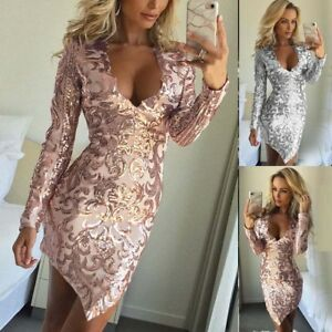 4d49338963677 Fashion Sequins Sexy Women V Neck Bodycon Evening Party Cocktail ...
