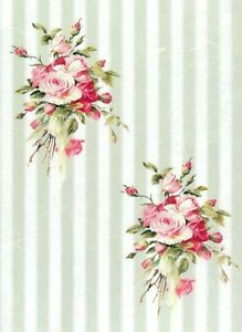 Dollhouse Miniature Pink and Green Stripe Floral Shabby Chic Wallpaper 1:12