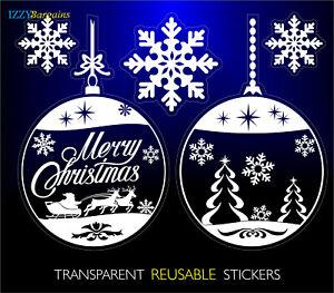 2-SFERE-PALLINE-3-Fiocchi-di-Neve-Natale-Riutilizzabile-Adesivi-Finestra-Decorazioni-Natale