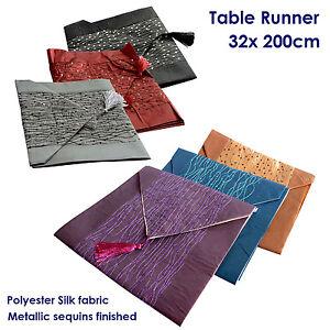 Table-Runner-Bed-Runner-200x32cm-Polyester-Silk-Assorted-Colours-Brand-New