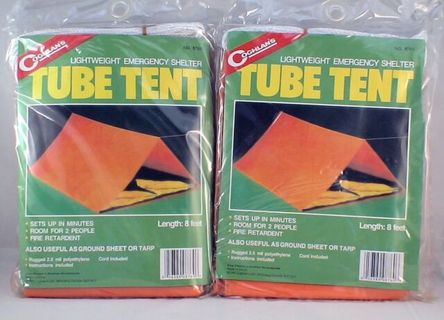 2 PK EMERGENCY TUBE TENT, LIGHTWEIGHT ROOM FOR 2 SETS UP QUICKLY FIRE RETARDENT