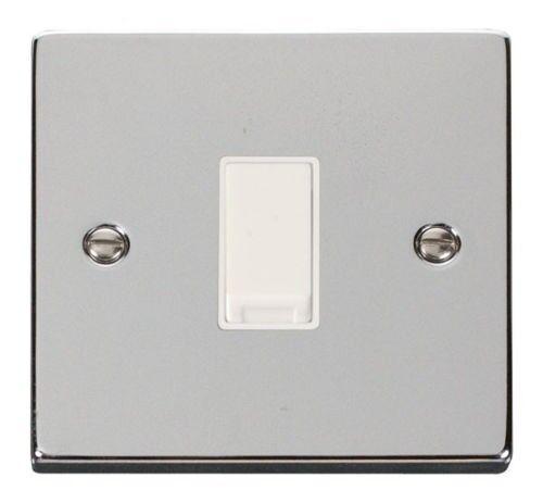 Deco 1G 2 Way 10AX Switch White Victorian Polished Chrome