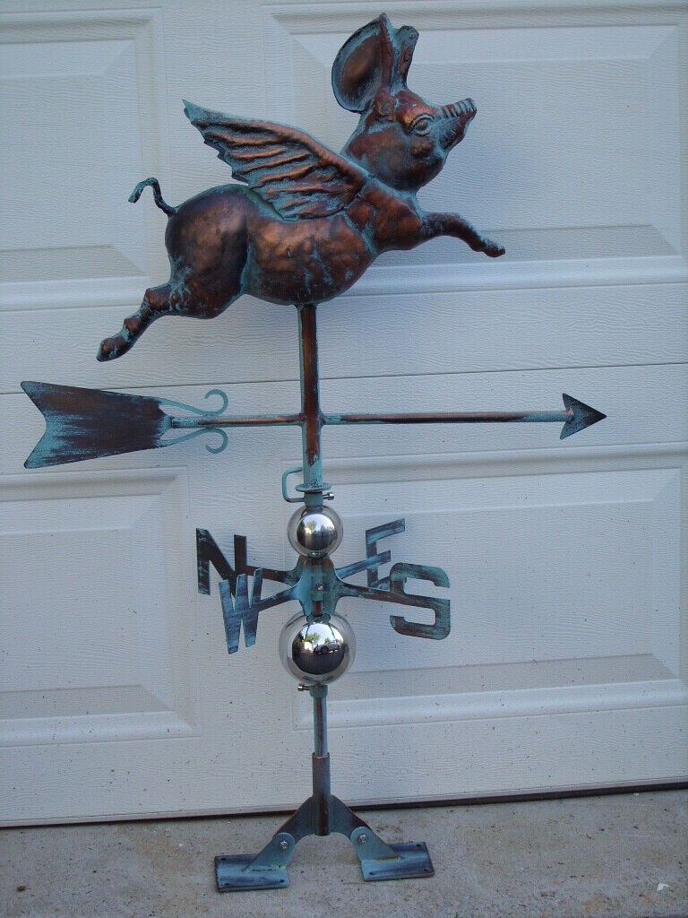 3D Flying Pig Weathervane Functional Ant Copper Finish Weather Vane HandCrafted