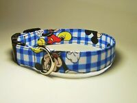 Wet Nose Designs Mickey Mouse Hand Made Dog Collar Blue White Checks