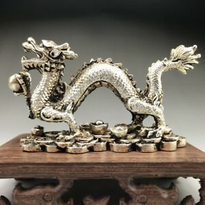 EXQUISITE-TIBET-SILVER-HAND-CARVED-CHINESE-DRAGON-STATUE