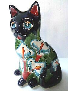 Mexican-Folk-Art-Talavera-Pottery-Ceramic-Animal-Sitting-Cat-Figure-Lilly-14-034