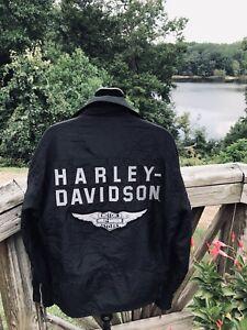 Harley Black Windbreaker Stor Ridjakke Små Davidson Kvinder Stavning Euc qTCwqxBHr